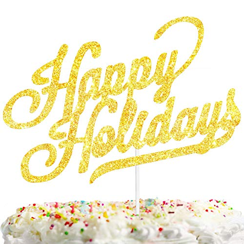 Happy Holidays Cake Topper 2021 New Year Theme Party Decorations Picks for Christmas Decor Supplies Glitter Gold