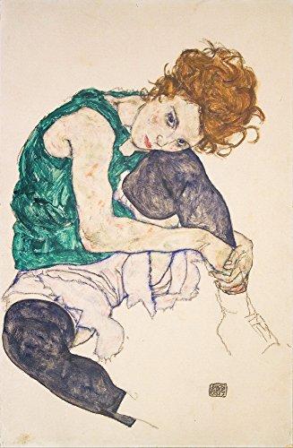 Egon Schiele Giclee Kunstdruckpapier Kunstdruck Kunstwerke Gemälde Reproduktion Poster Drucken(Sitzfrau mit hochgezogenen Beinen Adele Herms)