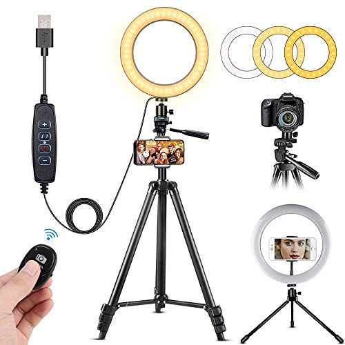 """10"""" Selfie Ring Light with Extendable Tripod Stand & Flexible Phone Holder for Live Stream/Makeup, Mini Desktop Led Camera Ringlight for YouTube Video, Compatible with iPhone/Android"""