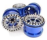 Integy RC Model Hop-ups C26702BLUE Billet Machined 6 Spoke Wheel Set (4) for Axial 1/10 Yeti Rock Racer