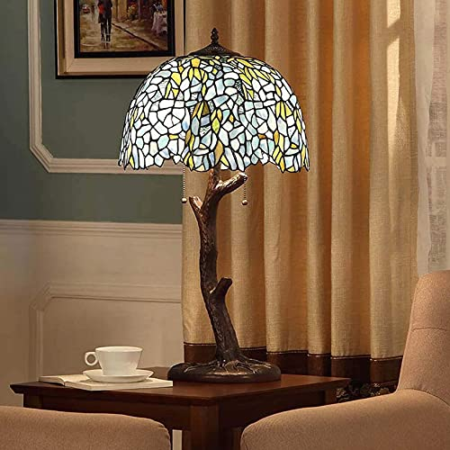 AWCVB Pastoral Vintage Table Lamp Lighting, Tiffany Style Desk Lamp With 16-Inch Stained Glass And Wrought Iron Base