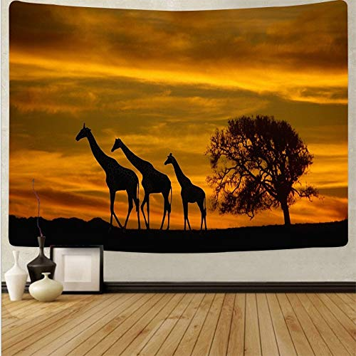 WERT Sunset Tree Elefante Colgante de Pared Animal Arte de la Pared Tapiz Doble Hippie Bohemio decoración del hogar Tapiz Tela de Fondo A1 150x200cm