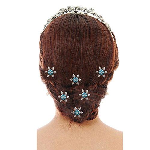 VORCOOL Rhinestone Bridal 6pcs Féminines Décoré en Forme de U de Flocon Neige Pinces à Cheveux (Bleu)