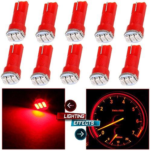 cciyu 10 Pack Red T5 74 3-3014SMD Car Dashboard Panel Gauge Side LED Light Bulbs Lamp 12V For 1995-1997 1999-2002 Dodge Spirit Viper Stealth B3500 B2500 Ram 3500 Ram 2500 Intrepid Avenger Durango
