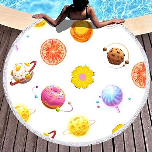 Good Memory - Toalla de Playa Grande, Redonda, con Forma de Donut de Frutas, de Microfibra, para Playa, Playa, Playa, Yoga, Picnic, Playa, Blanco, 150 cm