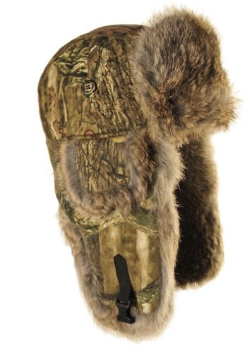 Mad Bomber Mossy Oak Infinity Saddlecloth Aviator Pilot Hat Real Rabbit Fur Trapper Hunting Cap, Small