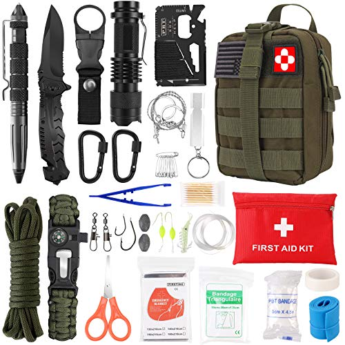 Survival Kit 72 in 1, Gifts for Men, Professional Survival Gear Equipment Tools First Aid Supplies for SOS Emergency Tactical Hiking Hunting Disaster Camping Adventures (Green)