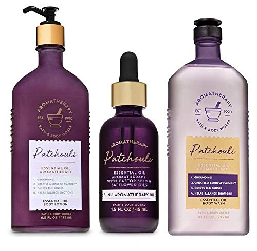 Bath and Body Works Aromatherapy Gift Set NEW PATCHOULI Essential Oil - Body Wash - Body Lotion and 3-in-1 Aromatherapy Essential Oil