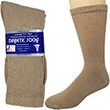 MATERIAL AND SIZE: Please refer to the size chart in the images section for your accurate sizing information before placing your order. Socks are made from 90% cotton, 7% Elastane, and 3% Polyester. Our loose fit diabetic socks are available in 3 siz...