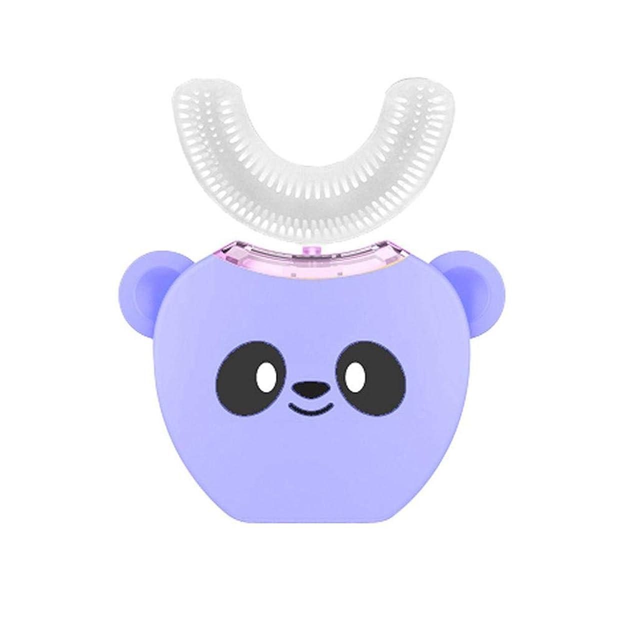 ストローク脅かす一過性子供用シリコン電動歯ブラシ、超ソフトシリコンブラシヘッド付き自動360完全充電式ホワイトニング歯ブラシ、ワイヤレス充電、高速クリーン歯
