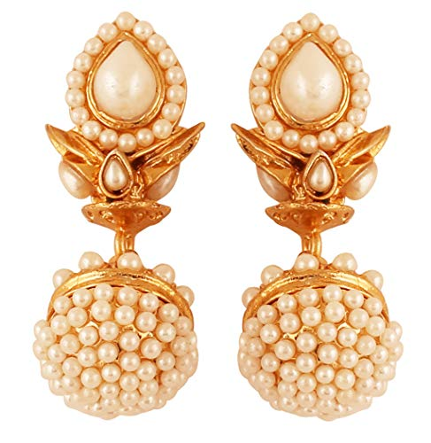 Touchstone Indian Bollywood Studded Look Intricate Drum Design Faux Pearls Designer Jewelry Jhumki Earrings In Antique Gold Tone For Women.