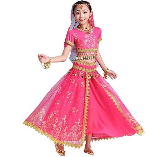 Magogo Bauchtanzkleid für Mädchen 3-teiliges Set Bollywood Indian Arabian Performance Kostüm für Kinder Karneval Fancy Outfit (M, Rose-Rot)