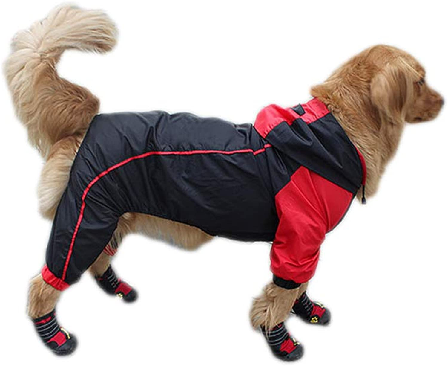 golden Raincoat FourLegged Waterproof Large Dog Hooded AllInclusive Summer Thin Section,maledogblackwithred,XXXL