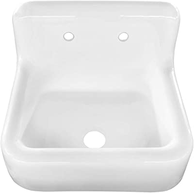 Vintage Tub Bath Daisy 25 Inch Cast Iron Farmhouse Sink 8 Inch Faucet Drillings White Amazon Com