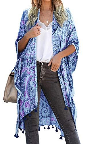May Story Damen Kimono Sommer Cardigan Gedruckt Kurzarm Lange Bluse Tops Beachwear Lässige Strand Poncho Pareos (One Size, Himmelblau)
