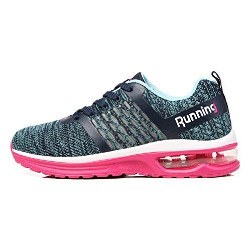 Homme Femme Baskets Sneakers Chaussures de Course Sports Athlétique Casual Fitness Gym Running Shoes(SkyA59-PINK36)