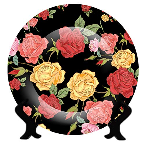 Armantara Ceramic Handcrafted 3D Decorative Floral Wall Plate with Stand for Living Room (8 Inch, Multicolour)