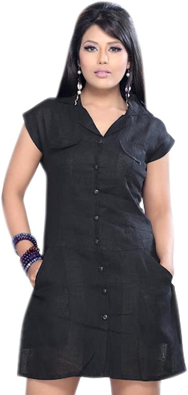 1545 Designs Women's Plus Size Black Tunic Short Sleeve Casual Dress