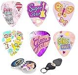 Kids Guitar Picks For Girls Pink Butterfly Cool 12 Medium Celluloid Picks W/FREE BONUS Sleek Tin Box & Pick Holder. Best Gifts for Girls Kids Teens Daughter Granddaughter Women Birthday