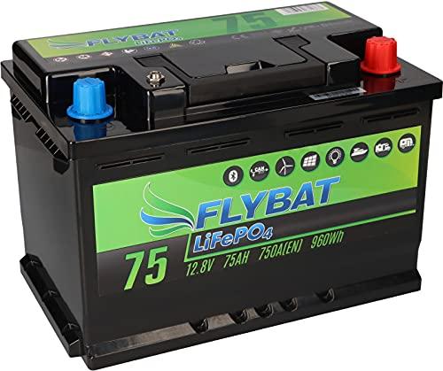 Batería LiFePO4 de 12 V (12,8 V), 75 Ah, incluye Bluetooth y batería de alimentación CanBus para barco, yate, caravana, etc.