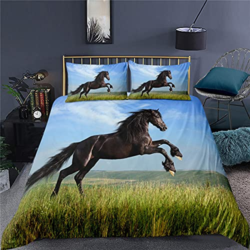 Copripiumino Singolo 150X200 Cavallo Blu Copripiumini in Microfibra,Set Copripiumino con Cerniera,Set Biancheria da Letto con 2 Federe 50 X 75 Cm,Copri Piumone Traspirante