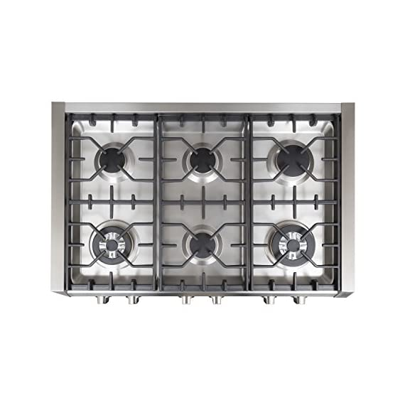 Cosmo Professional Style Slide-In Gas Cooktop in Stainless Steel -36 in 4 Heavy-duty cast iron grates and easy to clean heavy-duty stainless steel body Includes a griddle pan Works with natural gas and propane (conversion kit installation required)