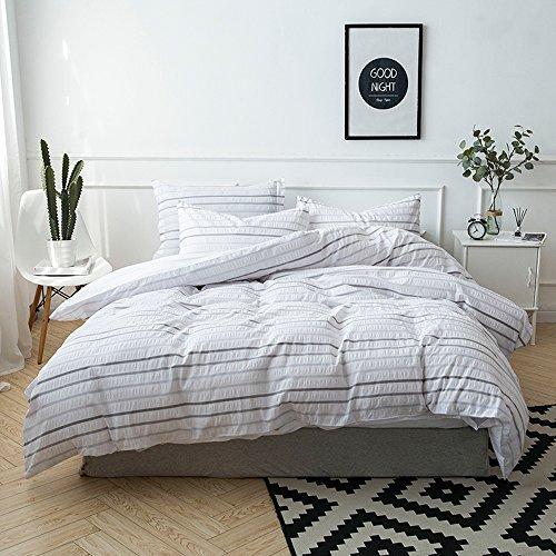 Merryfeel Seersucker Duvet Cover Set, 100% Cotton Yarn Dyed Seersucker Stripe Duvet Cover with Pillowshams,3 Pieces Bedding Set - Full/Queen