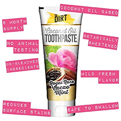 The Dirt All Natural Gluten & Fluoride Free Coconut & MCT Oil Toothpaste - Natural Teeth Whitening Toothpaste Botanically Sweetened, No Artificial Flavors or Colors | Rose Cacao Mint, 6 Month Supply