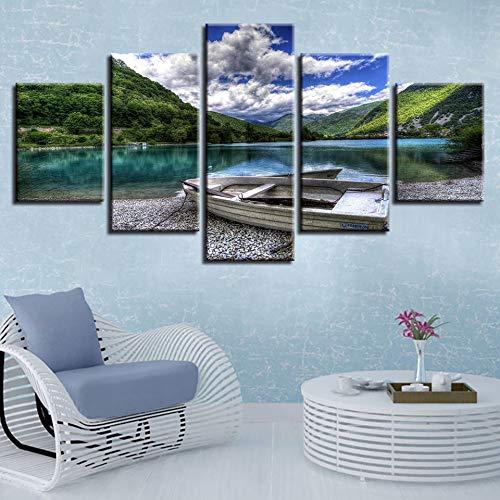 jtxqe lienzos para Pintar Película Lienzo Cuadro Lienzo Arte de la Pared 5 Piezas de montaña Lago Barco y Cielo Azul y Nubes Blancas Paisaje Pintura decoración habitación Imprimir