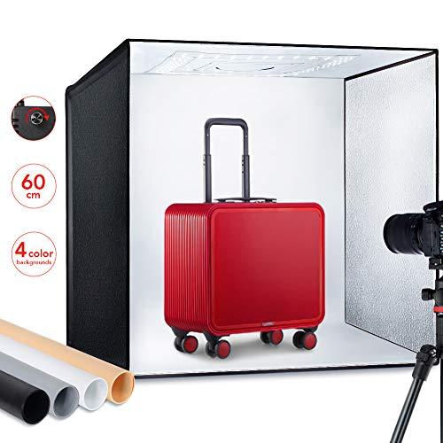 classement un comparer ESDDI PhotoStudio Light Box 60cm Luminosité Réglable Support Pliable Professionnel Portable…