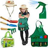 Born Toys Kids Gardening Set, Garden Tools, Kids Gardening Gloves and Washable Apron Set for Real or Sand Gardening and Dress up or Halloween…