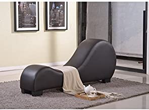 Modern Faux Leather Yoga Stretch Relaxation Chaise Lounge with Three-inch PVC Padding, Solid Wood Frame, Black Plastic Legs, Foam Filled Upholstery, Chocolate + Expert Home Guide by Love US