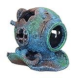SLOCME Aquarium Sunken Submarine Helmet Decorations - Realistic Vintage Noah's Ark Shipwreck Fish Tank Decorations,Durable Resin Fish Tank Ship Accessories Decorations