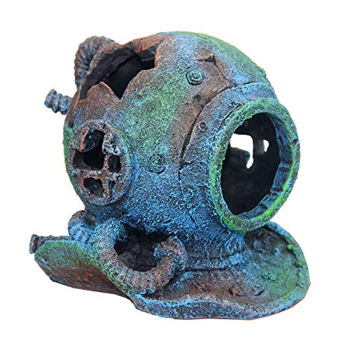 SLOCME Aquarium Sunken Submarine Helmet Decorations - Realistic Vintage Noah's Ark Shipwreck Fish Tank Decorations,Durable Resin Fish Tank Ship Accessories Decorations