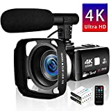 "SEREE Camcorder 4K 30MP WIFI Control Digital Camera 3.0"" Touch Screen Night Vision Video Camcorder Vlogging Camera with External Microphone"