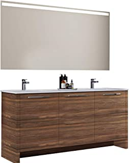 Casa Mare Benna 63 inch Modern Double Sink Freestanding Bathroom Vanity and Sink Combo (Matte Walnut)