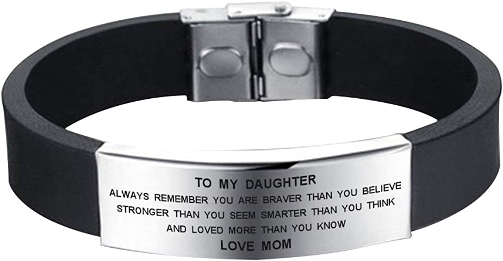 SOUSYOKYO to My Daughter Always Remember You are Braver Bracelet from Mom Family Jewelry Gift