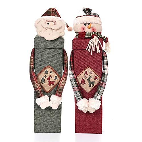 WyaengHai Weihnachten Flasche Gift Bag Weihnachtsfeier Tischdekoration Wein Kasten Karton Karikatur-Puppe Kronkorken Taschen Weihnachtswein-Flaschen-Beutel (Farbe : Mehrfarbig, Größe : Free Size)