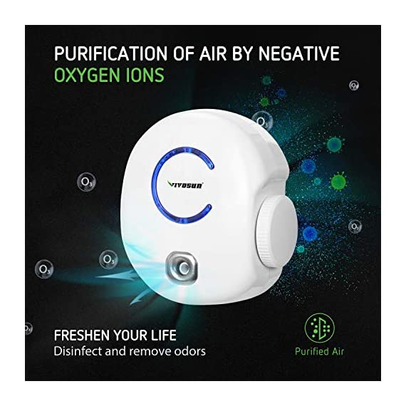 Vivosun 2-pack plug-in mini ionic air purifier ozone generator - portable odor eliminator, adjustable efficiency 10-50mg… 6 freshen your life: designed for domestic use, place this ozone generator wherever odors permeate like dressing rooms, dining rooms, kitchens, bathrooms, basements, and rooms with pets. Best used within enclosed spaces. Range: from 10–50mg/hr. Fitting for different environments and equipped with a performance indicator light. Vivosun air purifier only emits little to no noise while it in operating. Modern design: plug in to use, easy to carry. Just turn the wheel to start and regulate the production of ozone. Easy to use and transport.