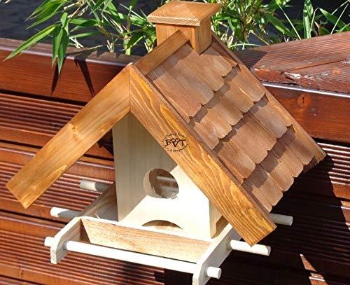 vogelhaus,mit Futterspender,K-BEL-VOWA3-dbraun002 Großes Vogelhäuschen + 5 SITZSTANGEN, FUTTERAUTOMAT + SICHTGLAS für Vorrat PREMIUM-Qualität,Vogelhaus,- ideal zur WANDBESTIGUNG – Futterhaus, Futterhäuschen WETTERFEST, QUALITÄTS-Standfuß-aus 100% Vollholz, Holz Futterhaus für Vögel, MIT FUTTERSCHACHT Futtervorrat, Vogelfutter-Station Farbe braun dunkelbraun schokobraun rustikal klassisch, Ausführung Naturholz MIT TIEFEM WETTERSCHUTZ-DACH für trockenes Futter - 4