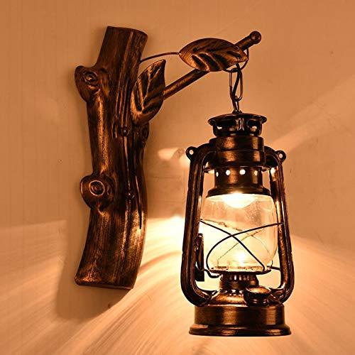 De enige goede kwaliteit Decoratie Bruin Retro Nostalgische Smeedijzeren Lantaarn Wandlamp Creatieve Netwerk Gamma Koffie Bar Stairwell Lamp 360 * 240 (mm)