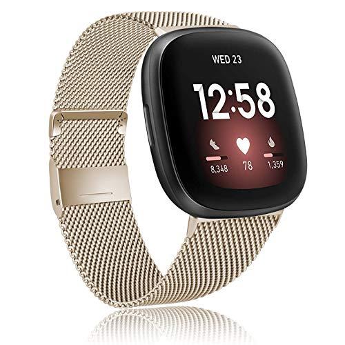 Amzpas Kompatibel mit Fitbit Versa 3 Armband/Fitbit Sense Armband, Metall Edelstahl Ersatzarmbänder mit Magnetschloss für Fitbit Versa 3/Sense (S, Champagner)