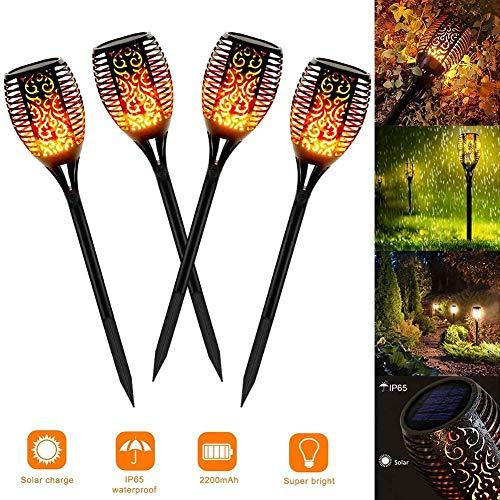 Solar Flammenlicht, 4 Stück Wasserdicht IP65 Solar Fackel Solar Garten Automatische Ein/Aus für Weihnachten Hinterhöfe, Gärten, Rasen Beleuchtung