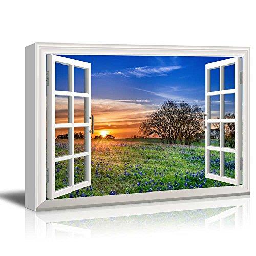 wall26 - Creative Window View Canvas Prints Wall Art - Sunrise on a Springfield - 24' x 36'