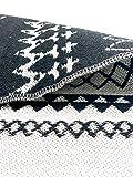 SOLTAKO Kleiner Kelim Teppich Läufer mit Fransen und Muster Retro Boho Ethno marokkanisch Berber waschbar Vintage (Schwarz/Ecru), 135 x 65 cm - 4