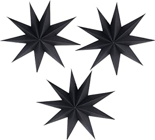 EOPER 3 Pieces 9 Pointed Paper Star Lanterns 12 Inch Hanging Lampshade for LED Light Wedding Birthday Party Decor, Black