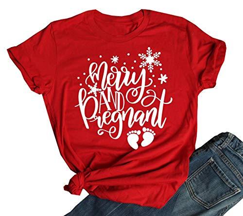Merry and Pregnant Shirt Women Pregnant Shirt Christmas Pregnancy Announcement T-Shirt (Red, M)