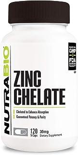 NutraBio Zinc Chelate 30mg - 120 Vegetable Capsules