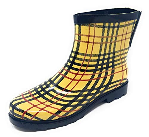 """Forever Young Women Rubber Rain Boots - 7"""" Ankle Rain Boots for Women, Waterproof Garden Boots, Checkers Plaid, Size 9"""