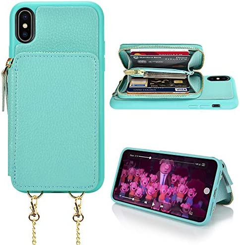 LAMEEKU iPhone Xs Max Case iPhone Xs Max Wallet Case Zipper Leather Card Holder Case with Card product image